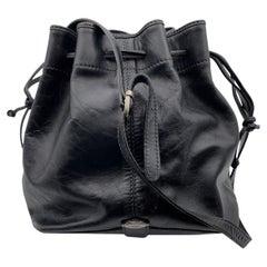 The Bridge Black Leather Drawstring Bucket Shoulder Bag