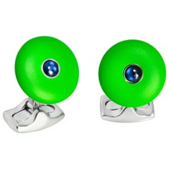 'The Brights' Lime Green Round Cufflinks with Sapphire Centre