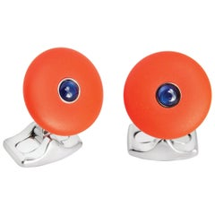 'The Brights' Orange Round Cufflinks with Sapphire Centre