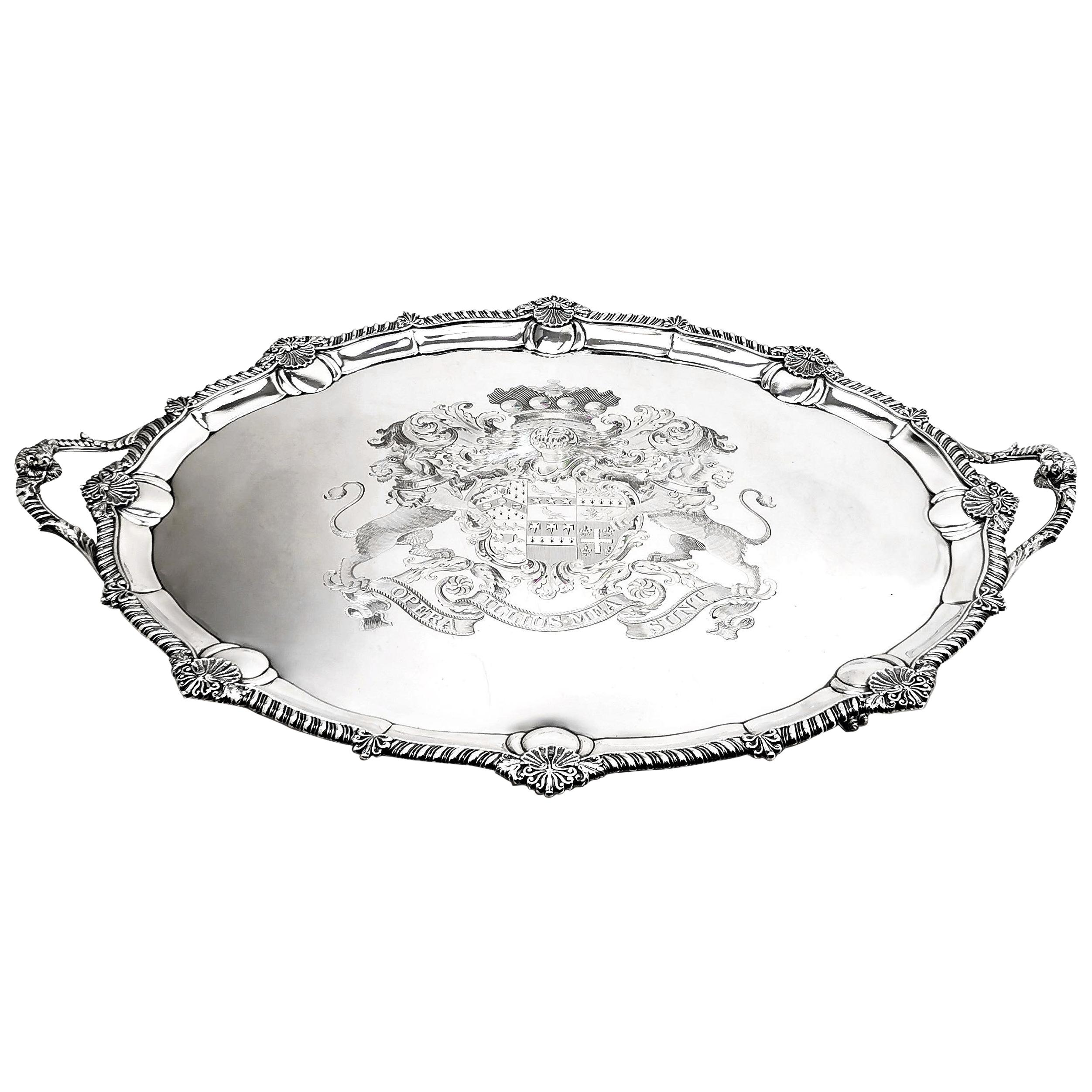 The Brownlow Tray 1809 Very Large Antique Georgian Silver Tray Serving Tea