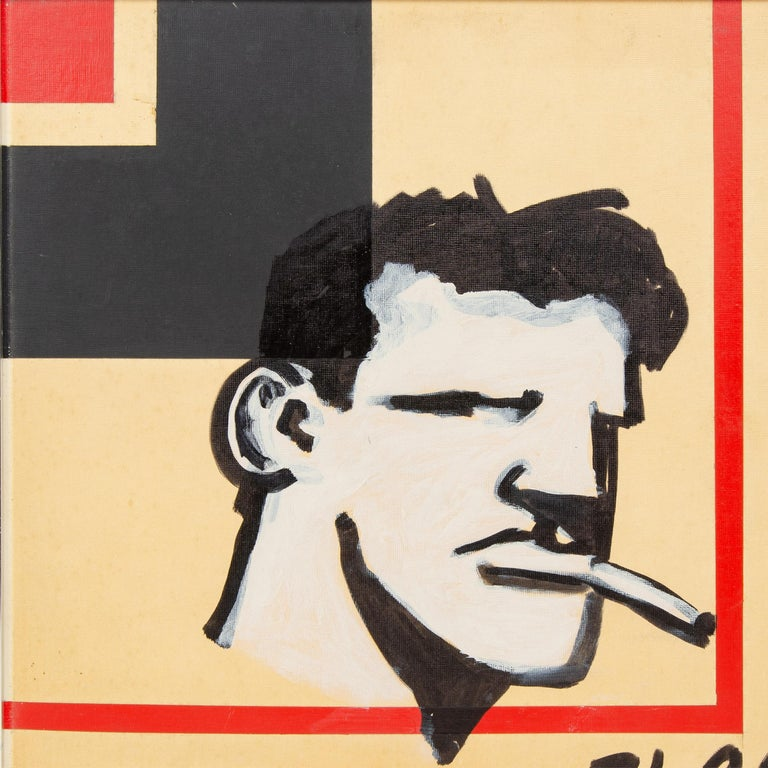 A framed painting of an iconic square-chinned, cigarette-smoking figure called 'The Brute' by Robert Loughlin, USA 2006. Signed 'RL 06'.