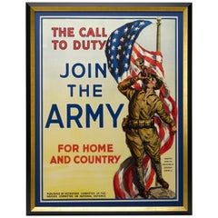 """The Call to Duty, Join the Army, For Home and Country"" Vintage WWI Poster"