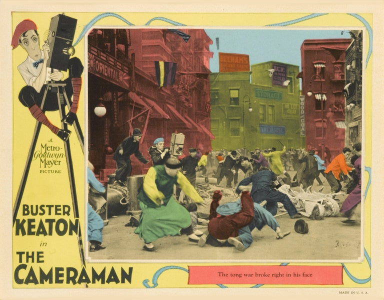 Framed original US lobby card for The Cameraman, 1928. This silent comedy was directed by Edward Sedgwick and an uncredited Buster Keaton. The film stars Keaton, Marceline Day and Harold Goodwin. It was Keaton's first film with Metro-Goldwyn-Mayer,