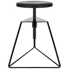 Camp Stool, Black and Charcoal, Adjustable Height Low Stool