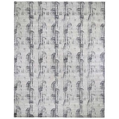 The Cane, Oversized Pure Silk Textured Wool Hand Knotted Oriental Rug