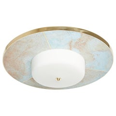 The Carta Flush Mount by David Duncan, Polished Brass, White Glass Light Fixture
