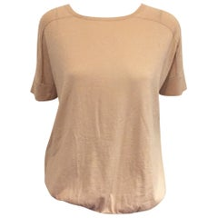 The Cashmere King Brunello Cucinelli's Beige Short Sleeves Cashmere Top