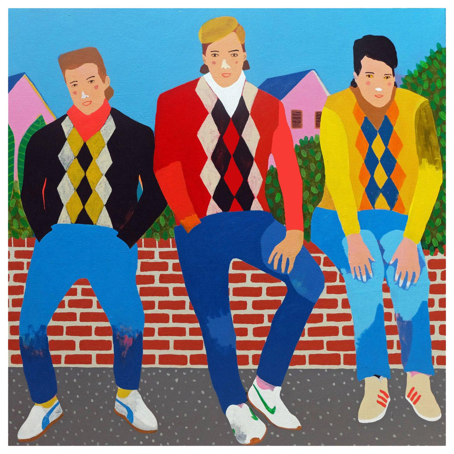 'The Casuals' Portrait Painting by Alan Fears Pop Art Fashion, 1980s
