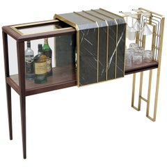 The Charles Bar in Walnut, Brass, Glass and Pietra Grey Marble by Studio A