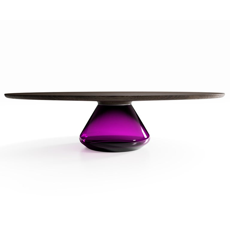 The Charoite Eclispse I, Limited Edition coffee table by Grzegorz Majka Limited Edition of 8 Dimensions: 54 x 48 x 14 in Materials: Glass, oak  The total eclipse of every interior? With this amazing table everything is possible as with its
