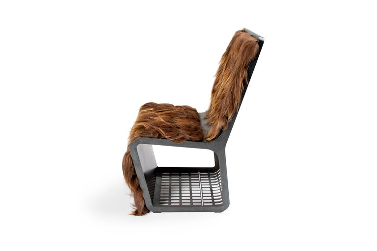 Folk Art Star Wars Chewbacca Chair, Modern laser Cut Steel Chair with Woven Icelandic Fur For Sale