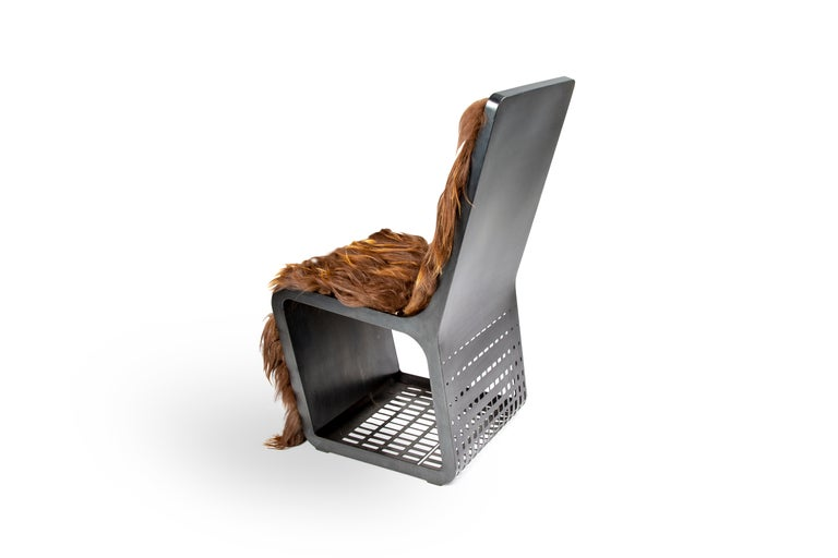 American Star Wars Chewbacca Chair, Modern laser Cut Steel Chair with Woven Icelandic Fur For Sale