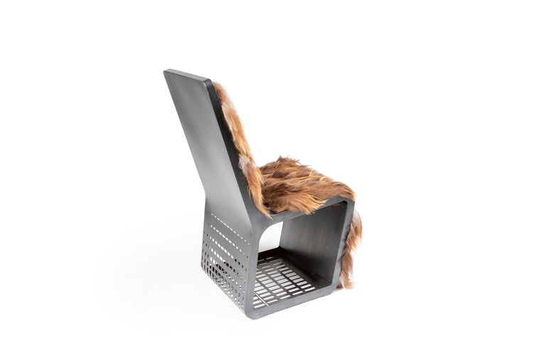 Star Wars Chewbacca Chair, Modern laser Cut Steel Chair with Woven Icelandic Fur In New Condition For Sale In Bozeman, MT