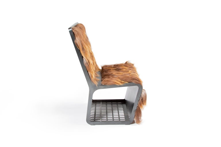 Contemporary Star Wars Chewbacca Chair, Modern laser Cut Steel Chair with Woven Icelandic Fur For Sale