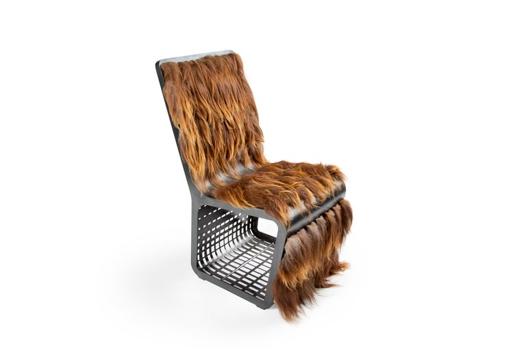 Star Wars Chewbacca Chair, Modern laser Cut Steel Chair with Woven Icelandic Fur For Sale 1