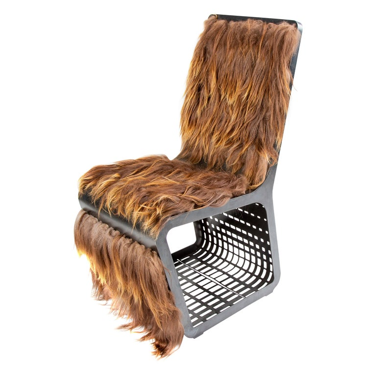 Star Wars Chewbacca Chair, Modern laser Cut Steel Chair with Woven Icelandic Fur For Sale