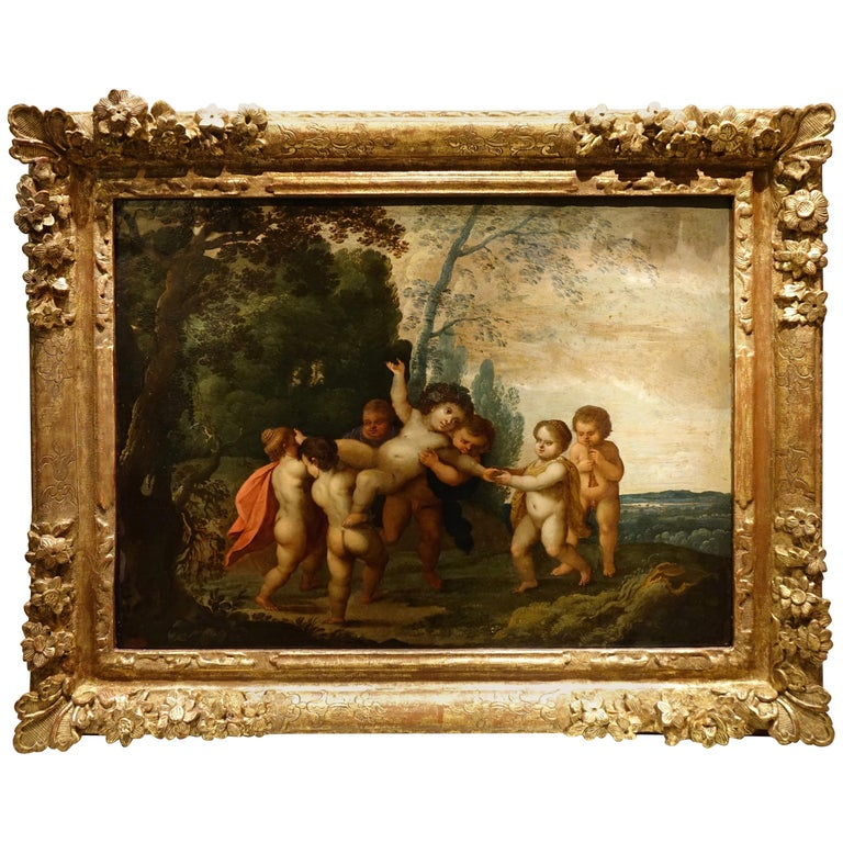 """The Childhood of Bacchus,"" 17th Century Flemish Oil on Copper Painting For Sale"