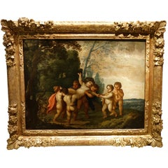 """The Childhood of Bacchus,"" 17th Century Flemish Oil on Copper Painting"