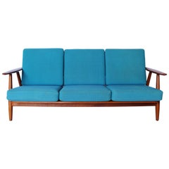 """The Cigar"" Three-Seat Sofa, Model GE240/3 by Hans J. Wegner and GETAMA, 1960s"