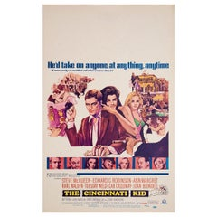 """The Cincinnati Kid"" 1965 U.S. Window Card Film Poster"