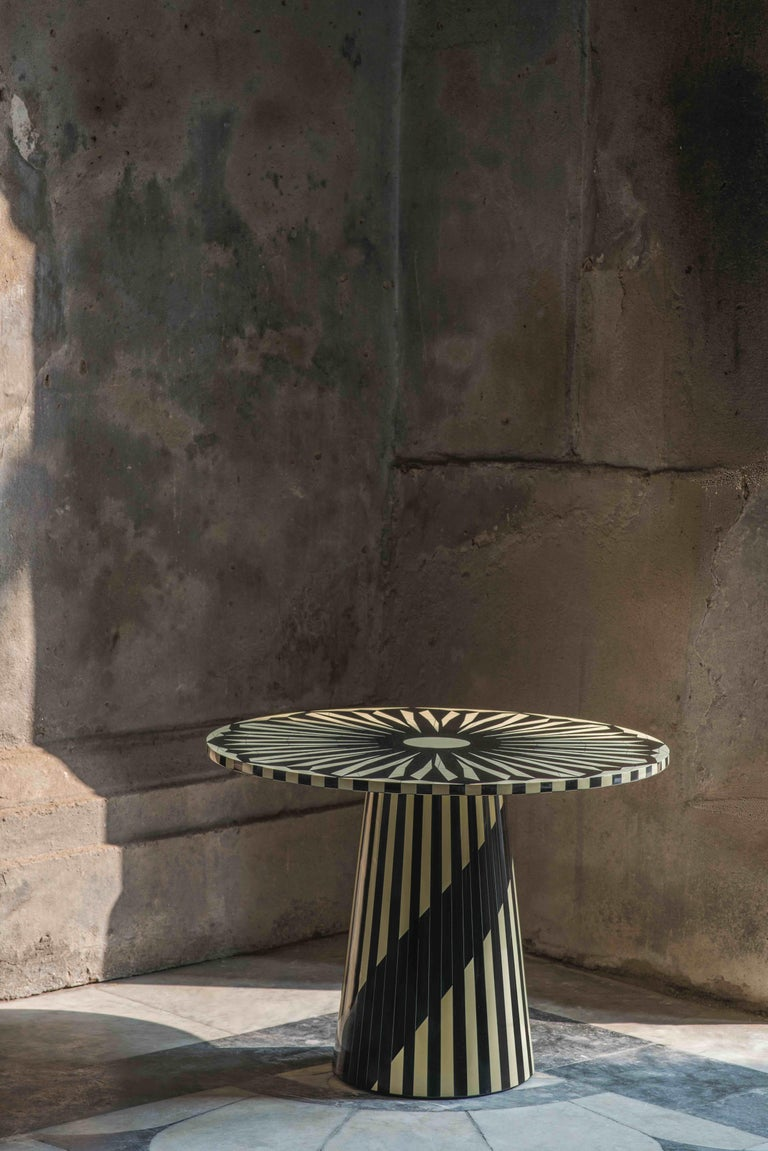 The Circus Black and White Side Table by Matteo Cibic is a gorgeous versatile small round table.  India's handicrafts are as multifarious as its cultures, and as rich as its history. The art of bone and horn inlay is omnipresent here. Artisans from