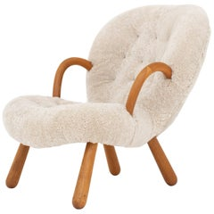 """The Clam"" Easy Chair in Lambs Wool by Philip Arctander"
