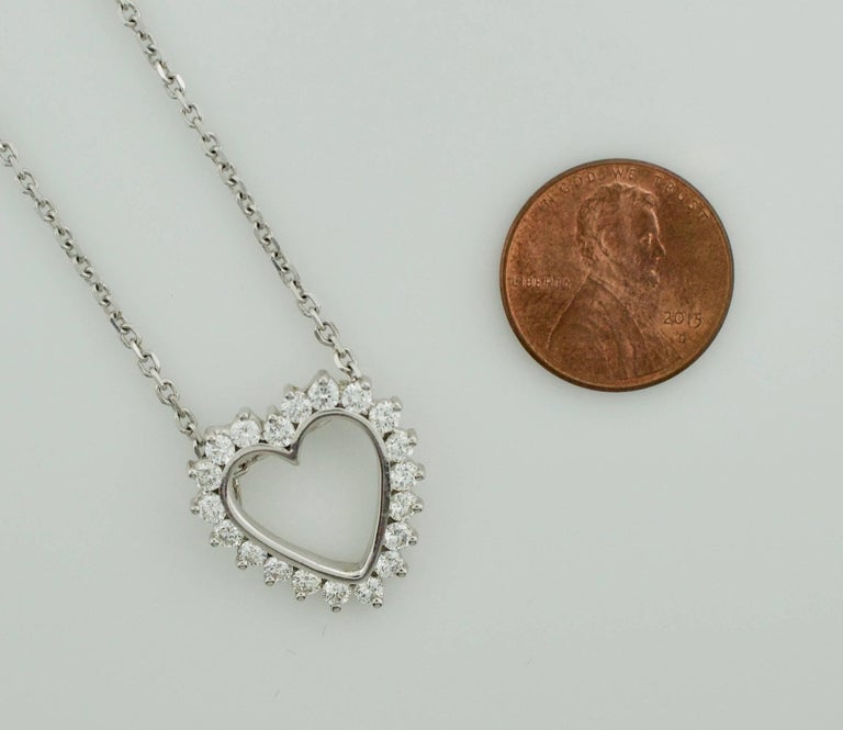 Women's or Men's Classic Diamond Heart Necklace in White Gold For Sale
