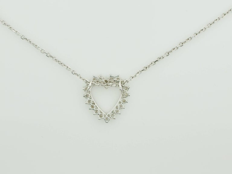 Classic Diamond Heart Necklace in White Gold For Sale 1