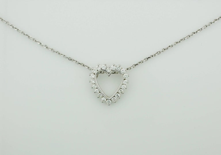 Classic Diamond Heart Necklace in White Gold For Sale 2