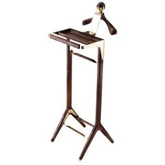 The Classical Valet Stand by Honorific in Solid Brass and American Black Walnut