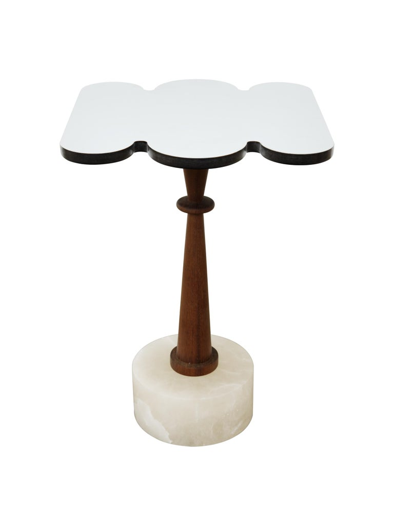 Minimalist Cloud, Side Table, Alabaster Base, Iroko Wood, Mirror Finished Aluminum Top For Sale