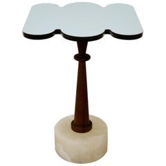 Cloud, Side Table, Alabaster Base, Iroko Wood, Mirror Finished Aluminum Top