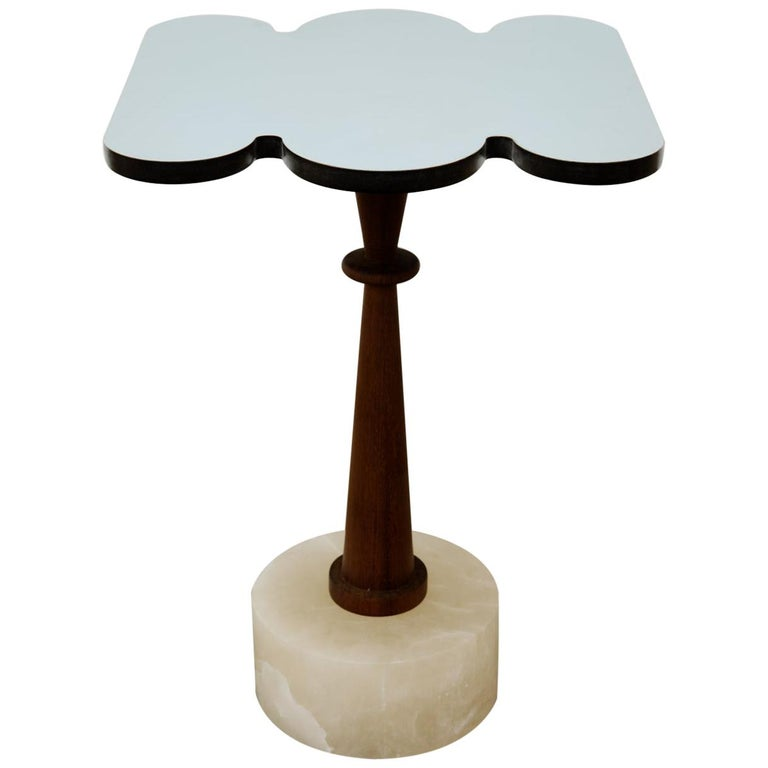 Cloud, Side Table, Alabaster Base, Iroko Wood, Mirror Finished Aluminum Top For Sale
