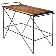 The Coleman Bar Cart, Black Walnut and Solid Steel, Handcrafted in USA