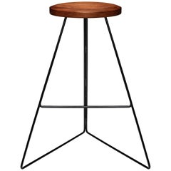 The Coleman Stool, Black and Walnut, Counter Height