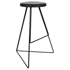 The Coleman Stool, Charcoal Concrete Seat and Black Steel Base
