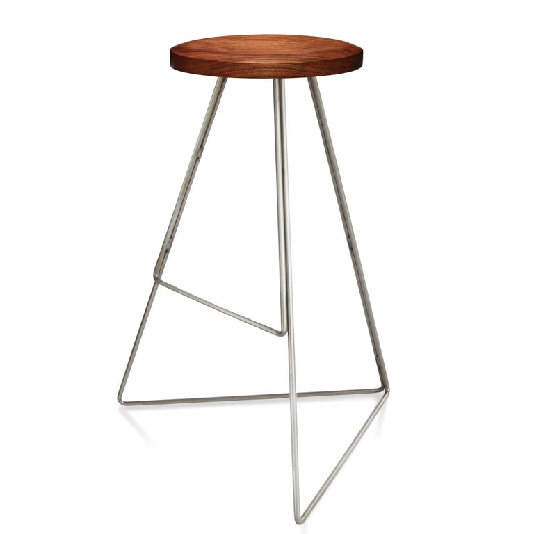 Mid-Century Modern Coleman Stool, Natural Steel and Walnut, 54 Variations For Sale