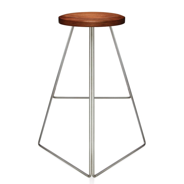Bleached Coleman Stool, Natural Steel and Walnut, 54 Variations For Sale