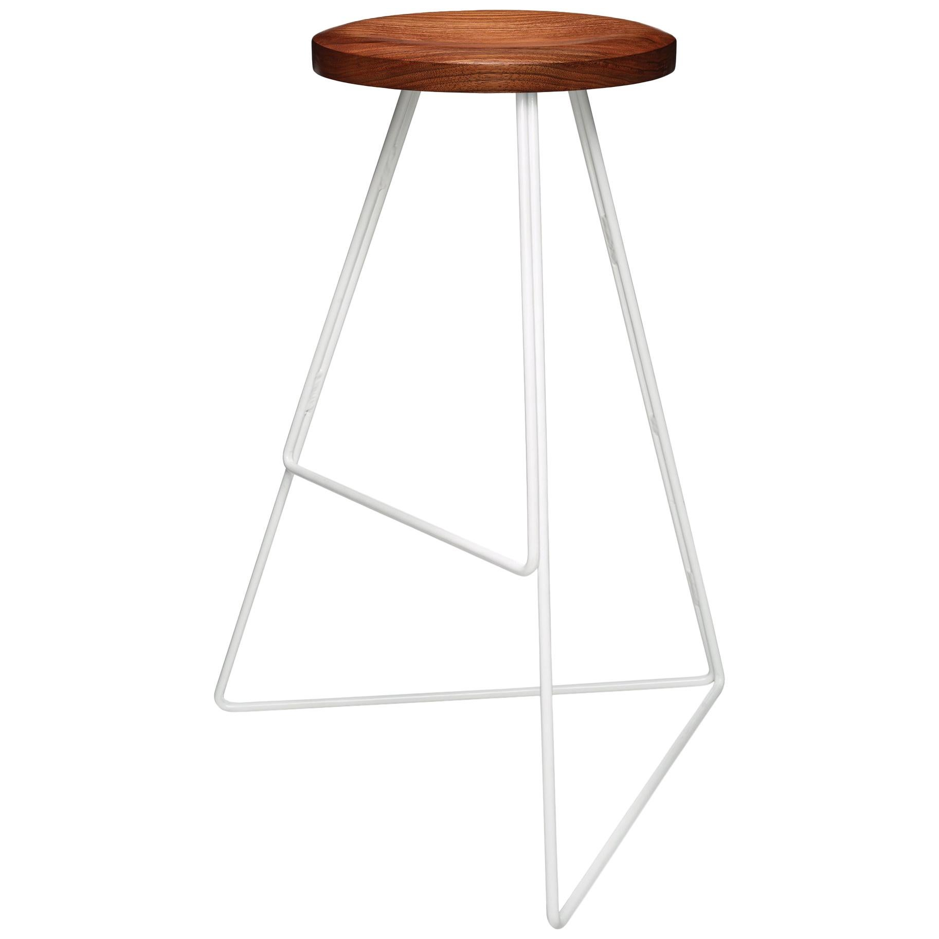 The Coleman Stool - White and Walnut, Counter Height.  54 Variations Available.