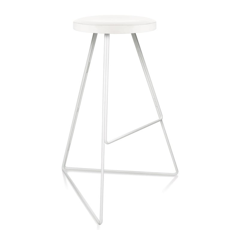 The Coleman stool is a sophisticated design that blends mixed materials, color, and geometry to create a distinctive seating option. First released in 2010, it was awarded a Best Furniture Award from the 2015 Dwell on Design Awards. Each stool is