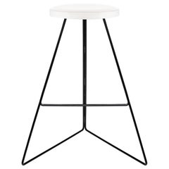 Coleman Stool, White Marble Seat and Black Steel Base, Counter Height