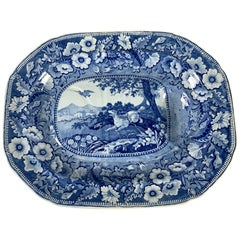 The Collection of Mario Buatta a Large Blue and White Staffordshire Platter