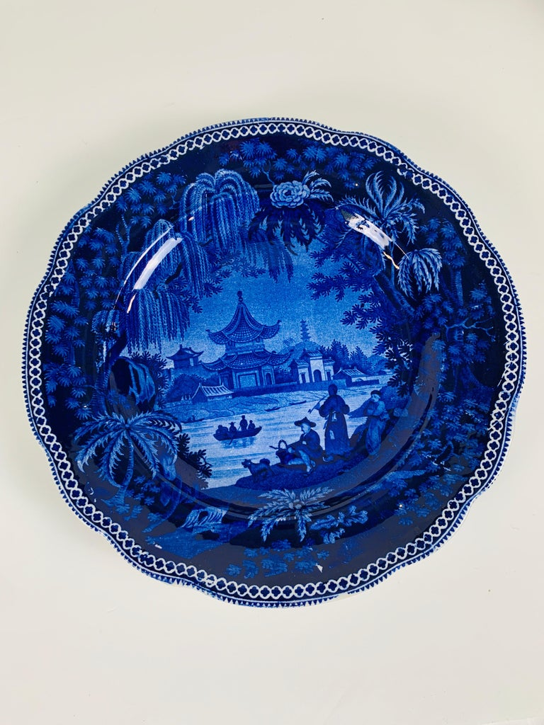 Provenance: The Private Collection of Mario Buatta Mario loved deep blue and this pair of dishes has the deepest blue. Each dish is covered almost completely in shades of blue. The viewer's eye is drawn to the center where the blue is brightest.