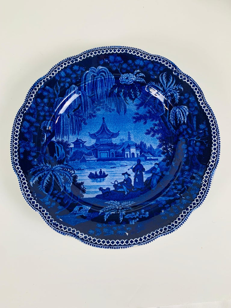 Chinoiserie Collection of Mario Buatta a Pair of Deep Blue and White Dishes For Sale