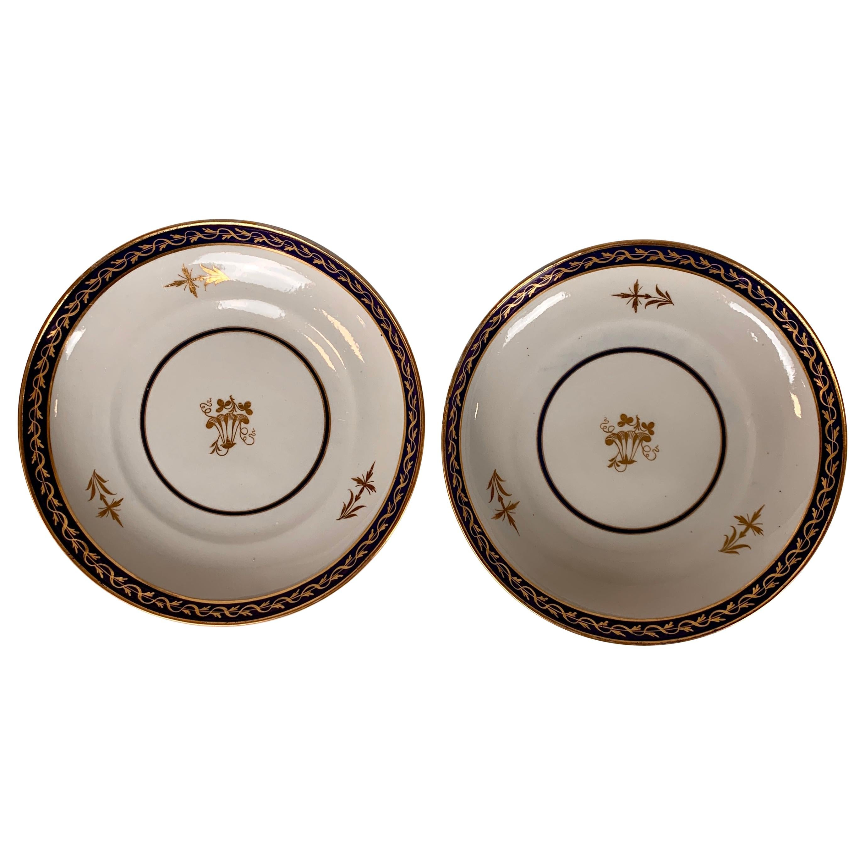 The Collection of Mario Buatta Pair of Regency Period Dishes Cobalt Blue Borders