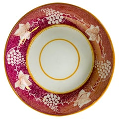 The Collection of Mario Buatta Pink Lustre Porcelain Saucer Made England c- 1830