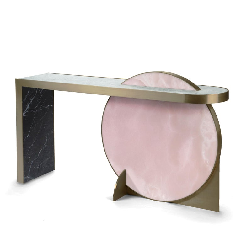 Modern The Collision Console Carrara Marble and Brushed Brass, Onyx, by Lara Bohinc For Sale