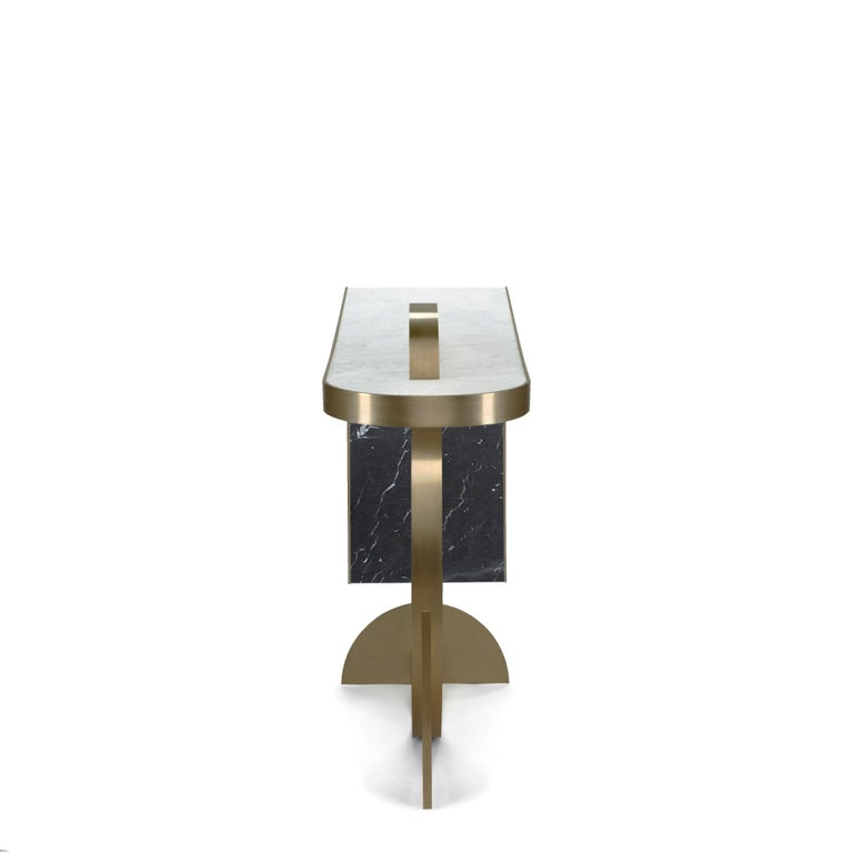 Italian The Collision Console Carrara Marble and Brushed Brass, Onyx, by Lara Bohinc For Sale