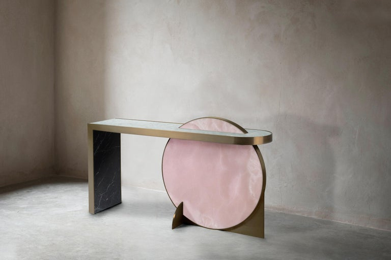 Contemporary The Collision Console Carrara Marble and Brushed Brass, Onyx, by Lara Bohinc For Sale
