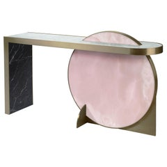The Collision Console Carrara Marble and Brushed Brass, Onyx, by Lara Bohinc